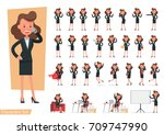 set of businesswoman character... | Shutterstock .eps vector #709747990