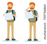 set of male traveler with a map....   Shutterstock .eps vector #709756864
