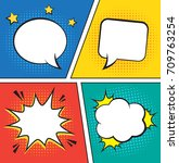 retro comic empty speech... | Shutterstock .eps vector #709763254