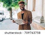 portrait of an african american ...   Shutterstock . vector #709763758