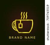 cup of tea golden metallic logo
