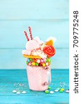 extreme milkshake. freakshake.... | Shutterstock . vector #709775248