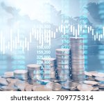graph coins stock finance and... | Shutterstock . vector #709775314
