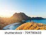 travelers wearing red sweater.... | Shutterstock . vector #709780633