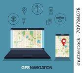 gps navigation app icons | Shutterstock .eps vector #709786078