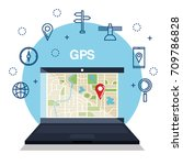 laptop with gps application | Shutterstock .eps vector #709786828