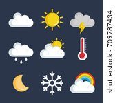 set of weather status icons | Shutterstock .eps vector #709787434