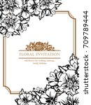 invitation with floral... | Shutterstock .eps vector #709789444