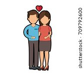 cute couple in love with heart | Shutterstock .eps vector #709792600