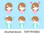 cartoon people with sick on the ... | Shutterstock .eps vector #709794583