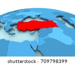 map of turkey in red on blue... | Shutterstock . vector #709798399