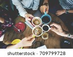 camping coffee friendship... | Shutterstock . vector #709799728