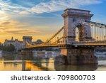 Budapest Hungary, sunrise city skyline at Chain Bridge