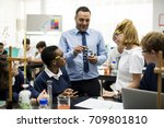 group of students laboratory... | Shutterstock . vector #709801810