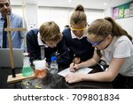 group of students laboratory... | Shutterstock . vector #709801834