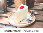 close up of cake in cafe | Shutterstock . vector #709812643
