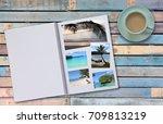 photobook album with travel... | Shutterstock . vector #709813219