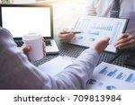 business team meeting present ... | Shutterstock . vector #709813984