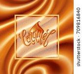 caramel background. deep folds... | Shutterstock .eps vector #709816840