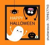 happy halloween card. square... | Shutterstock .eps vector #709817743