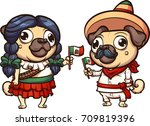 cartoon pugs dressed with... | Shutterstock .eps vector #709819396
