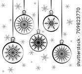 christmas balls set isolated.... | Shutterstock .eps vector #709823770