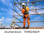 construction workers wearing... | Shutterstock . vector #709824829