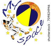 spaceman and crescent moon.... | Shutterstock . vector #709824946