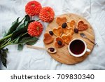 a homemade breakfast or late... | Shutterstock . vector #709830340