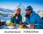 winter ski holidays   skiers... | Shutterstock . vector #709833964