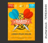 darts tournament poster card... | Shutterstock .eps vector #709834444