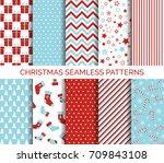 set of christmas seamless... | Shutterstock .eps vector #709843108