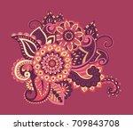 flower pattern bright abstract... | Shutterstock . vector #709843708