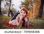beautiful girl in beautiful... | Shutterstock . vector #709848388