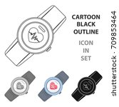 sports wrist watch with heart... | Shutterstock .eps vector #709853464