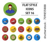 sawmil and timber set icons in... | Shutterstock .eps vector #709855888