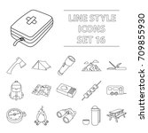 camping set icons in outline... | Shutterstock .eps vector #709855930