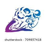 passionate motorcycle racer in... | Shutterstock .eps vector #709857418