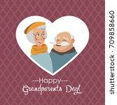 happy grandparents day.vector... | Shutterstock .eps vector #709858660