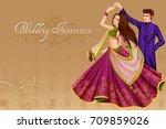 Vector design of Indian couple dancing in wedding Sangeet ceremony of India