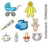 baby born set icons in cartoon...   Shutterstock .eps vector #709860268