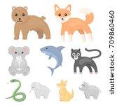 animals set icons in cartoon... | Shutterstock .eps vector #709860460