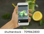 woman taking photo of smoothies ... | Shutterstock . vector #709862800