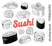 japanese food hand drawn doodle ... | Shutterstock .eps vector #709863490