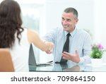 two happy young business people ... | Shutterstock . vector #709864150