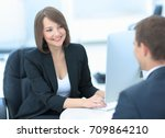 successful job interview with... | Shutterstock . vector #709864210
