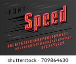 stylish red stylized font and... | Shutterstock .eps vector #709864630