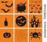 halloween symbols   Shutterstock .eps vector #709872160