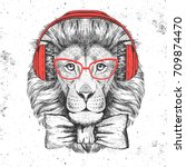 hipster animal lion. hand... | Shutterstock .eps vector #709874470