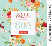 autumn sale floral banner. fall ... | Shutterstock .eps vector #709881460